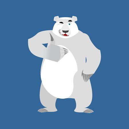 Polar Bear winks Emoji. Wild animal Arctic and Antarctic. Merry Emotion beast thumbs up