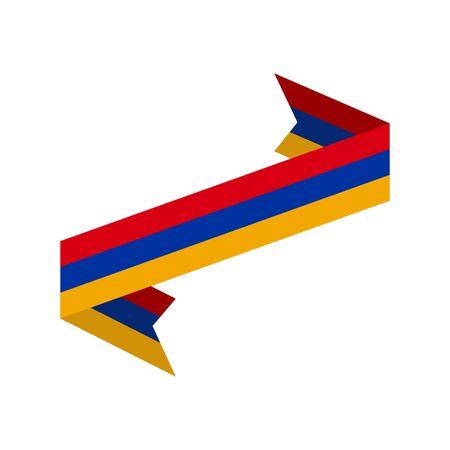 Armenia flag ribbon isolated. Armenian tape banner. National symbol countrys public Illustration