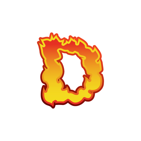 Letter D fire. Flames font lettering. Tattoo alphabet character. fiery sign alphabet