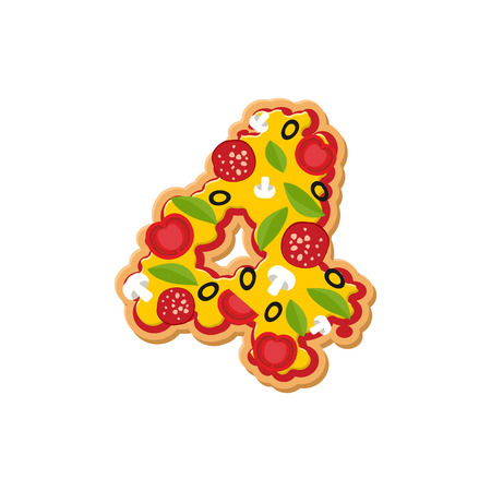 Number 4 pizza font. Italian meal alphabet numeral four. Lettring fast food Illustration