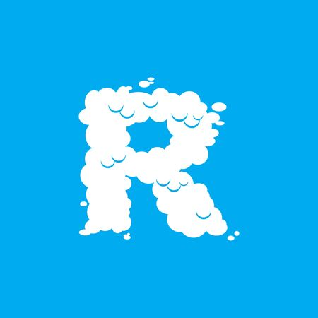 Letter R cloud font symbol. White Alphabet sign on blue sky