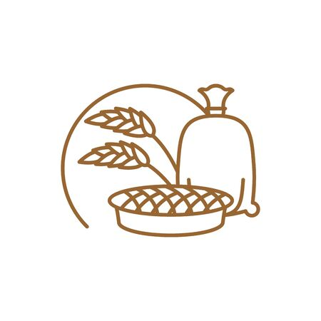 the miller: flour bag and pie Line icon. Sign for production of bread and bakery Illustration