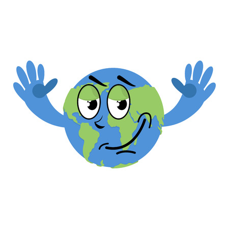 Happy Earth isolated. Good Planet on white background. Earth Day illustration Illustration