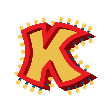 Letter K lamp glowing font. Vintage light bulb alphabet. Retro ABC sparkling lights