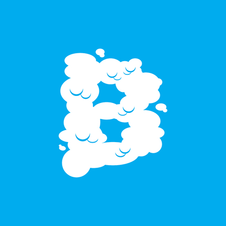 Letter B cloud font symbol. White Alphabet sign on blue sky Illustration