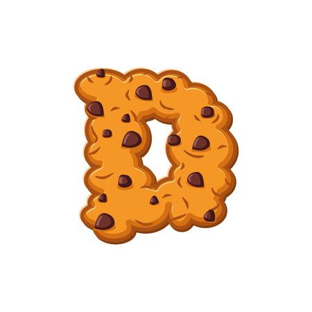 D letter cookies. Cookie font. Oatmeal biscuit alphabet symbol. Food sign ABC Vetores