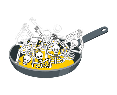 Sinner fry in pan. Skeleton in boiler. Cook sinners in oil. Religion illustration. Hell symbol. Hells torments Illustration