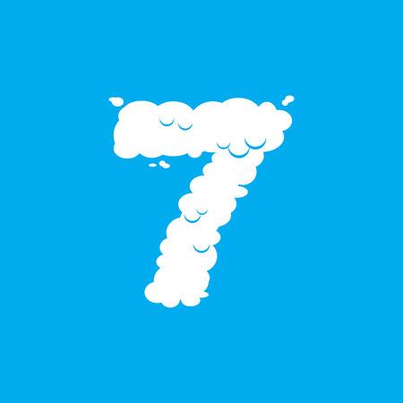 Number 7 cloud font symbol. White Alphabet sign seven on blue sky