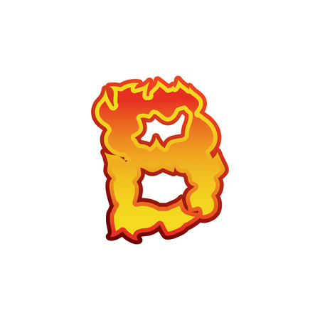 Letter B fire. Flames font lettering. Tattoo alphabet character. fiery sign alphabet Illustration