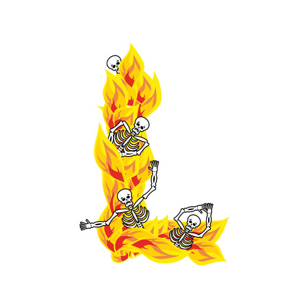 Letter L hellish flames and sinners font. Fiery lettering. Infernal fire alphabet sign. ABC devilish flame of Death Satanic and skeleton Illustration