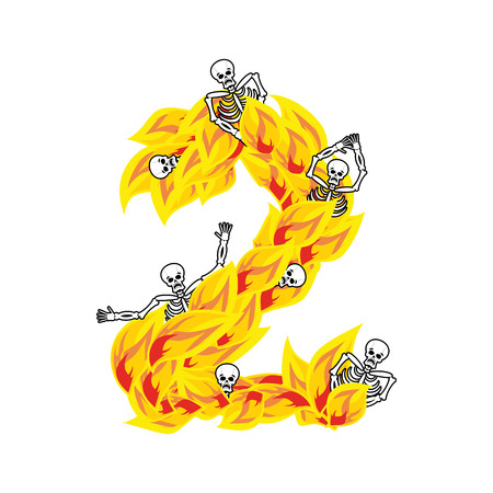 Number 2 hellish flames and sinners font. Fiery lettering two. Infernal fire alphabet. ABC devilish flame of Death Satanic and skeleton