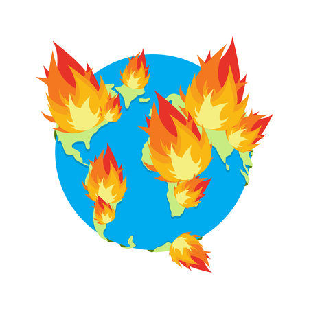 sea pollution: Earth on fire. Planet is burning. Disaster. doomsday Illustration