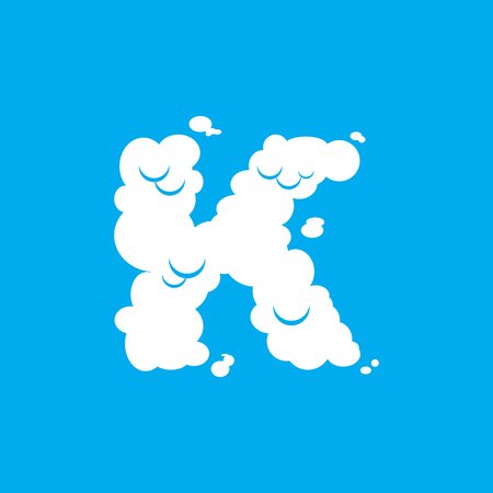 Letter K cloud font symbol. White Alphabet sign on blue sky