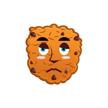 misery: Cookies sad Emoji. biscuit emotion sorrowful. Food Isolated
