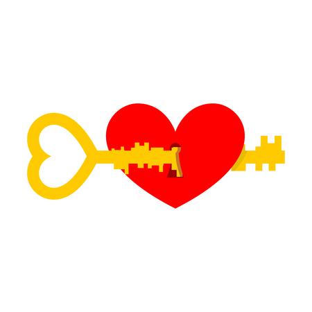 door lock love: Key from heart. Illustration for Valentines Day
