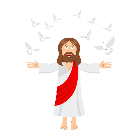 Jesus Christ and dove. holy man and pigeon. son of God. bible bird Illustration