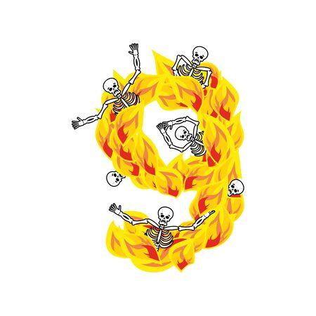 fiery: Fiery lettering nine infernal fire alphabet.