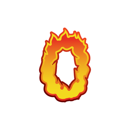fervent: Number 0 fire. Flames Font zero. Tattoo alphabet character. fiery sign ABC