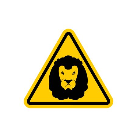 Attention Lion. Leo on yellow triangle. Road sign Caution predator Illustration