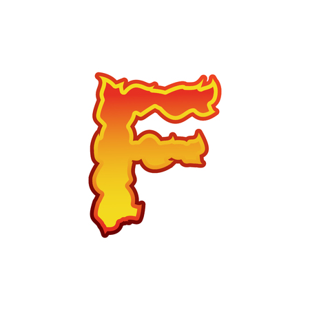 Letter F fire. Flames font lettering. Tattoo alphabet character. fiery sign alphabet