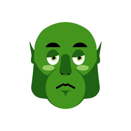 sorrowful: Goblin sorrowful emotion isolated in green monster troll face. Illustration