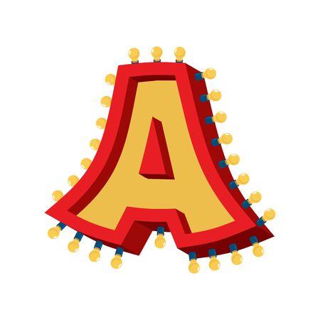 Letter A lamp glowing font. Vintage light bulb alphabet. Retro ABC sparkling lights