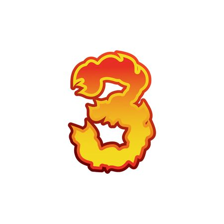 flammable: Number 3 fire. Flames Font three. Tattoo alphabet character. fiery sign ABC