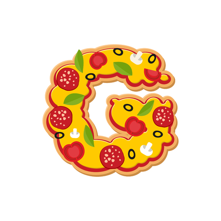 Letter G pizza font. Italian meal alphabet. Lettring fast food Illustration