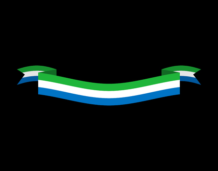 Sierra Leone flag ribbon isolated. Republic tape banner. National symbol of countrys public Illustration