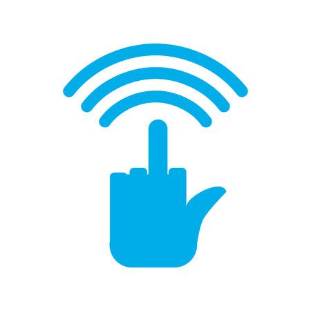 cogida wi-fi. odio WiFi. La comunicación inalámbrica de Bully. botón de mala Vectores
