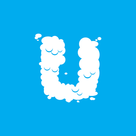 Letter U cloud font symbol. White Alphabet sign on blue sky