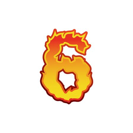 fervent: Number 6 fire. Flames Font six. Tattoo alphabet character. fiery sign ABC