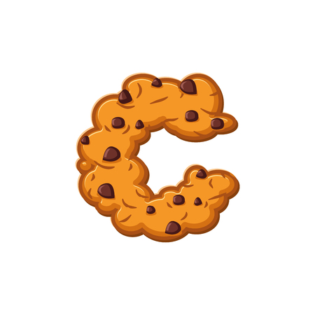 C letter cookies. Cookie font. Oatmeal biscuit alphabet symbol. Food sign ABC