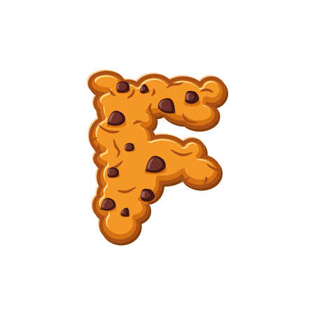 F letter cookies. Cookie font. Oatmeal biscuit alphabet symbol. Food sign ABC