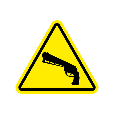 Attention crime. Gun in yellow triangle. Road sign Caution Weapon