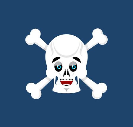 Skull and crossbones happy Emoji. skeleton head marry emotion isolated Illustration