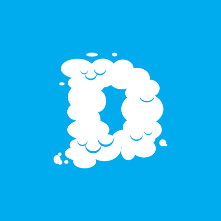 d mark: Letter D cloud font symbol. White Alphabet sign on blue sky Illustration