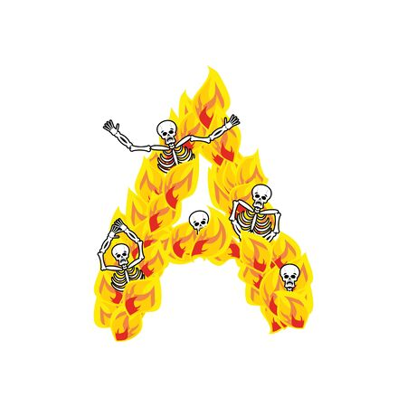 Letter A hellish flames and sinners font. Illustration