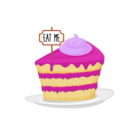Piece of cake on plate, Eat me. Sweet cake dessert. Food Alice in Wonderland. Illustration