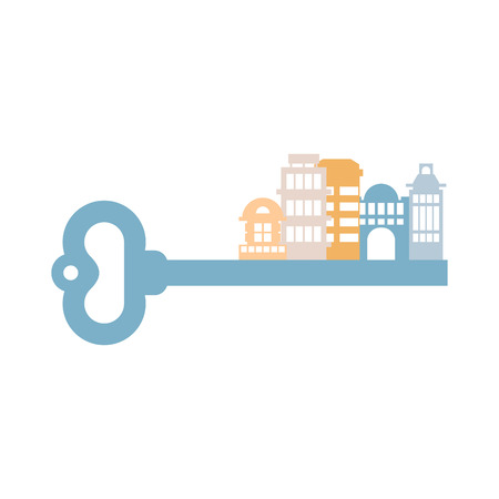 realestate: Key to City. Buildings and homes. urban clue isolated. Real estate agency logo