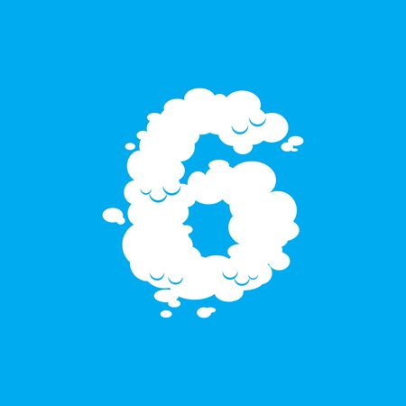 Number 6 cloud font symbol. White Alphabet sign six on blue sky