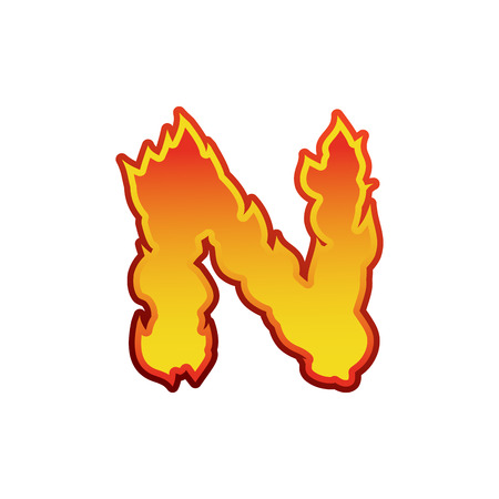 fervent: Letter N fire. Flames font lettering. Tattoo alphabet character. fiery sign alphabet