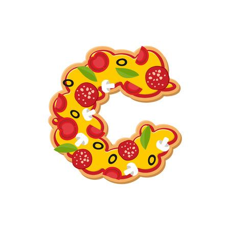 freshly: Letter C pizza font. Italian meal alphabet. Lettring fast food