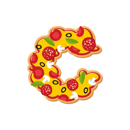 Letter C pizza font. Italian meal alphabet. Lettring fast food