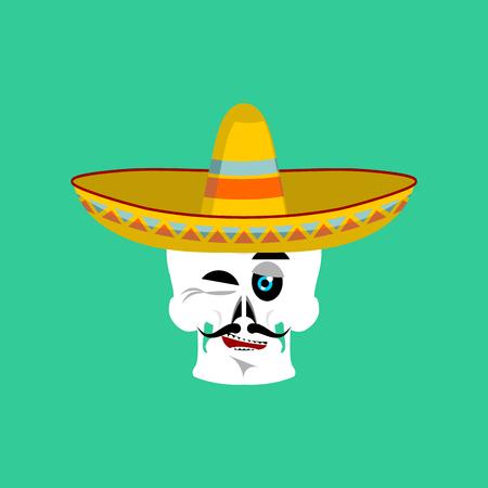 Crâne en sombrero faisant un clin d'?il à Emoji. Squelette mexicain pour la fête traditionnelle des morts.