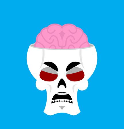 Skull and brain angry Emoji. skeleton head grumpy emotion isolated Illustration