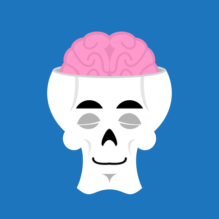 Skull and brain sleeps Emoji. skeleton head asleep emotion isolated Illustration
