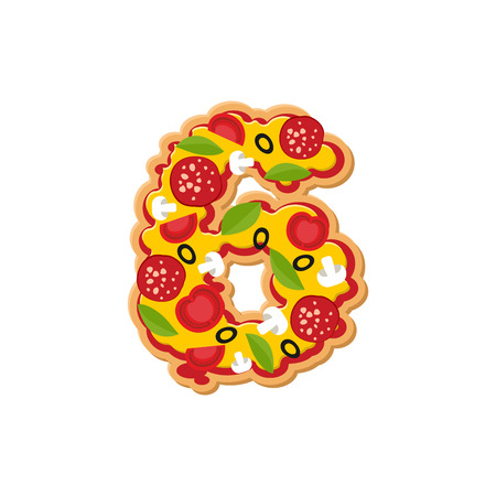 Number 6 pizza font. Italian meal alphabet numeral six. Lettring fast food