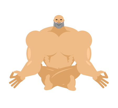 yogi: Athlete yoga. yogi bodybuilder. sportsman zen and relaxation