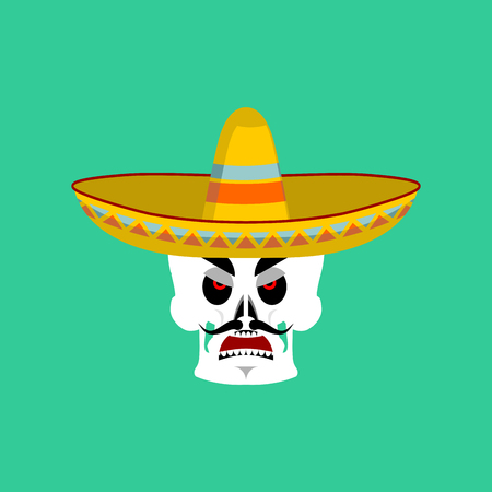 Skull in sombrero angry Emoji. Mexican skeleton for traditional feast day of the dead. Illustration